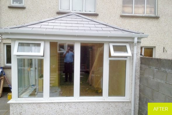 After - Replacement of Conservatory roof with new slate