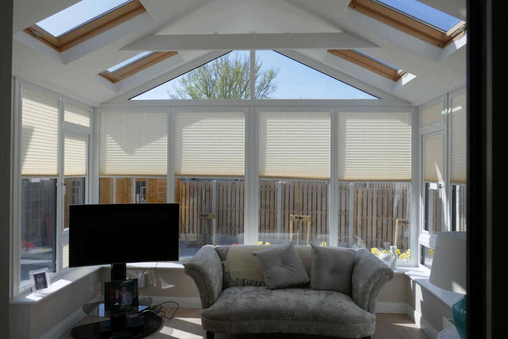 Beam Painted White and Pine Roof Windows