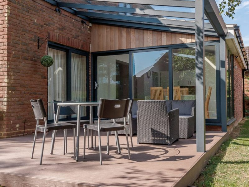 Vesta glass roof Veranda in Silver Grey